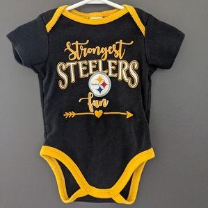 Strongest Steelers fan black & gold onesie